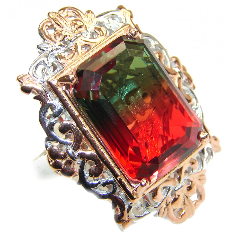 HUGE Emerald cut Watermelon Tourmaline color Topaz 18 K Gold over .925 Sterling Silver handcrafted Ring s. 7 1/2
