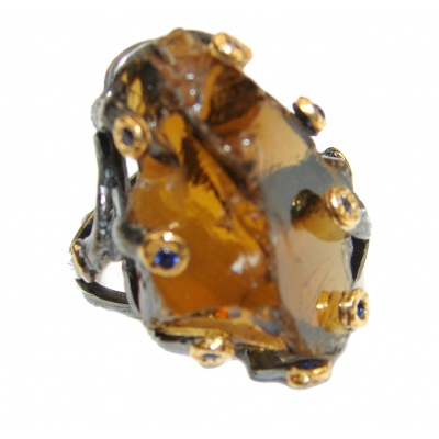 Large Authentic Smoky Topaz 18K Gold over .925 Sterling Silver handcrafted ring; s. 7 3/4