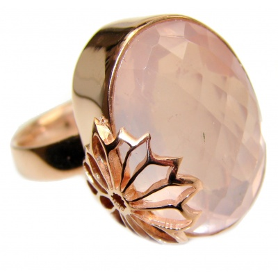 Large Authentic Rose Quartz 18K Gold over .925 Sterling Silver handcrafted ring s. 7 adjustable