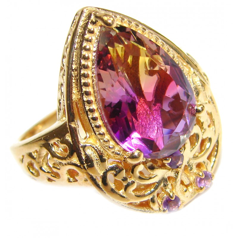 HUGE pear cut Ametrine 18K Gold over .925 Sterling Silver handcrafted Ring s. 8 1/4