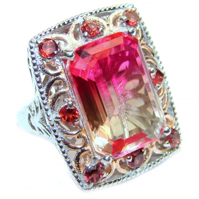 HUGE Emerald cut Pink Topaz 18K Gold over .925 Sterling Silver handcrafted Ring s. 7 3/4