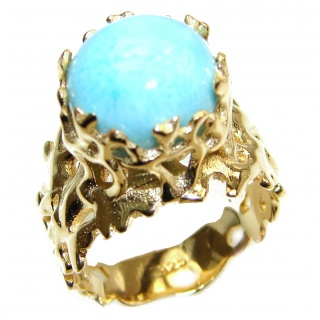Vintage Design Natural Larimar 18k Gold over .925 Sterling Silver handcrafted Ring s. 8