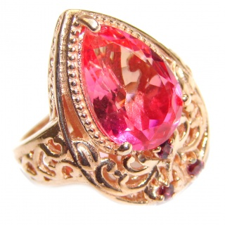 HUGE pear cut Pink Tourmaline 18K Gold over .925 Sterling Silver handcrafted Ring s. 6 3/4