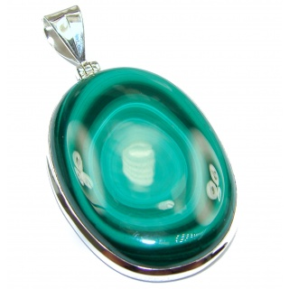 LARGE Top Quality Malachite 18K Gold over .925 Sterling Silver handmade Pendant