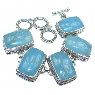 Vintage Design Ocean Beauty Genuine Aquamarine .925 Sterling Silver handcrafted Bracelet