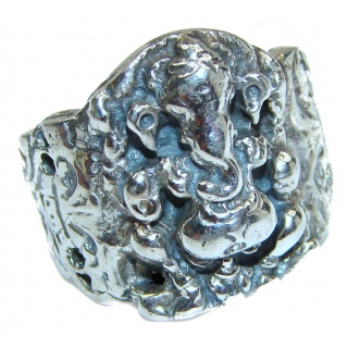 Ganesha The remover of obstacles .925 Sterling Silver handcrafted Ring s. 8 1/4
