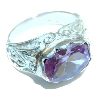 Ultra Fancy Cubic Zirconia .925 Sterling Silver Cocktail ring s. 8 1/4
