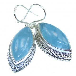 Vintage Style genuine Aquamarine .925 Sterling Silver handmade earrings