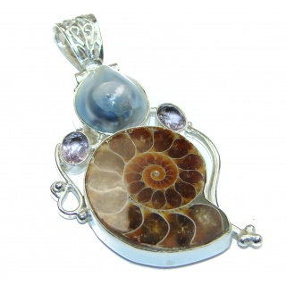 Authentic Ammonite .925 Sterling Silver handmade Pendant