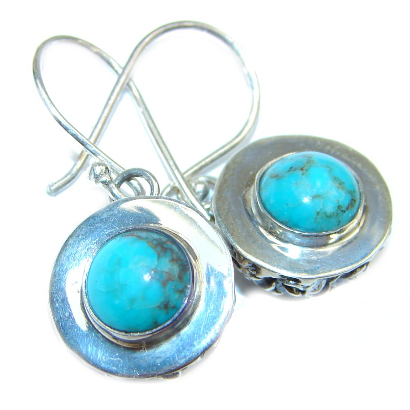 Solid Blue Turquoise .925 Sterling Silver handcrafted earrings