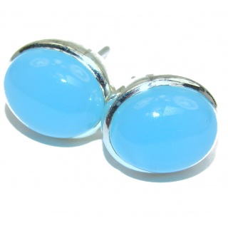 Simple Design excellent 15 mm Chalcedony Agate .925 Sterling Silver earrings