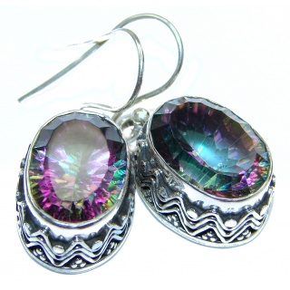 Huge Rainbow Magic Topaz .925 Sterling Silver handmade earrings