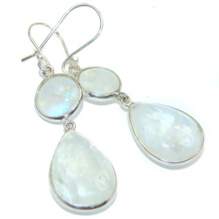 Genuine Rainbow Moonstone .925 Sterling Silver handcrafted stud Earrings