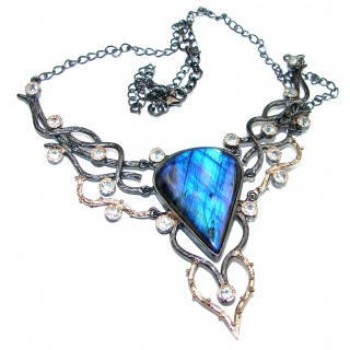 Genuine Fire Labradorite Rose Gold Rhodium over .925 Sterling Silver handmade Statement Necklace