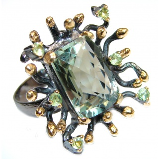 Spectacular Natural Green Amethyst 18K Gold over .925 Sterling Silver handcrafted ring size 7 adjustable