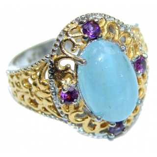 Spectacular genuine Aquamarine 1K Gold over .925 Sterling Silver handmade ring s. 7