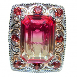 HUGE Emerald cut Pink Topaz 18K Gold over .925 Sterling Silver handcrafted Ring s. 9 1/4