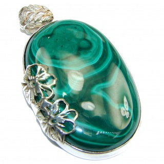 LARGE Top Quality authentic Malachite .925 Sterling Silver handmade Pendant