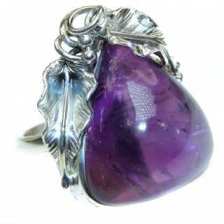 Large Spectacular genuine 65ctw Amethyst .925 Sterling Silver handcrafted Ring size 8 adjustable