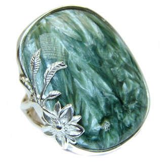 Great quality Russian Seraphinite .925 Sterling Silver handcrafted Ring size 8 adjustable