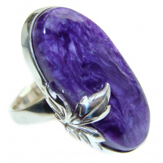 Natural Siberian Charoite .925 Sterling Silver handcrafted ring size 7 adjustable