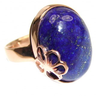 LARGE Natural Lapis Lazuli 18K Gold over .925 Sterling Silver handcrafted ring size 8 adjustable