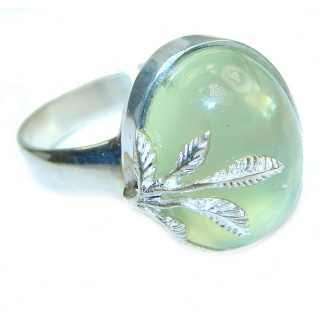 Natural Moss Prehnite .925 Sterling Silver handmade ring s. 7 1/2