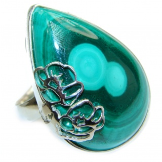 Natural Sublime quality Malachite .925 Sterling Silver handcrafted ring size 8