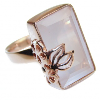 Authentic Rose Quartz 18K Gold over .925 Sterling Silver handcrafted ring s. 7 adjustable