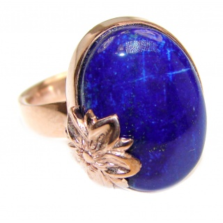 Authentic Lapis Lazuli 18K Gold over .925 Sterling Silver handcrafted ring size 8 adjustable