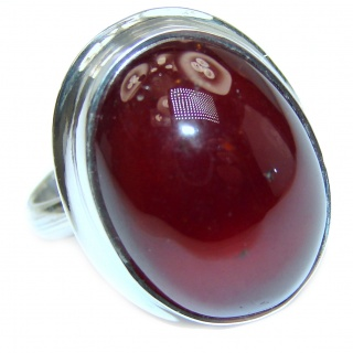 Posh Genuine 55ctw Garnet .925 Sterling Silver handmade Cocktail Ring s. 7 adjustable