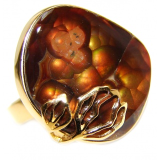 Genuine Fire Agate Mexican 24K Gold over .925 Sterling Silver Ring size 7 adjustable