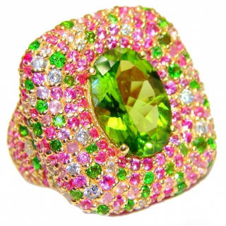 Spectacular Genuine 25ctw Peridot Tourmaline 24K Gold over .925 Sterling Silver handcrafted Statement Ring size 8
