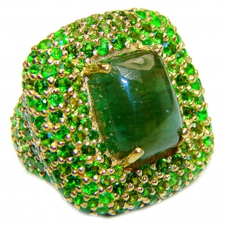 Spectacular Genuine 20ctw Green Tourmaline 24K Gold over .925 Sterling Silver handcrafted Statement Ring size 6 3/4