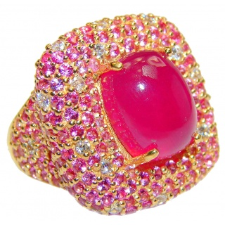 Large Genuine 20ctw Ruby Diamnond 24K Gold over .925 Sterling Silver handcrafted Statement Ring size 8 1/2