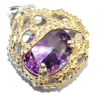 Spectacular ! Amethyst 18K Gold over .925 Sterling Silver handcrafted pendant