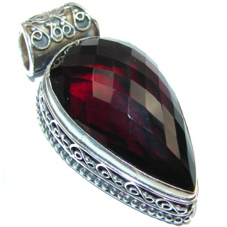 Incredible authentic Deep Red Quartz .925 Sterling Silver handmade pendant