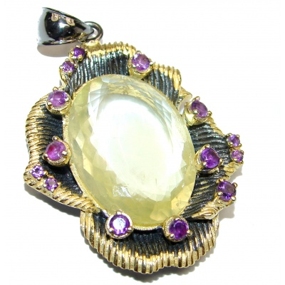 Vintage Design 52.2CT Genuine Lemon Quartz Gold over .925 Sterling Silver handcrafted pendant