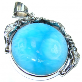 Vintage design Authentic Caribbean AAAA quality Larimar .925 Sterling Silver handmade pendant