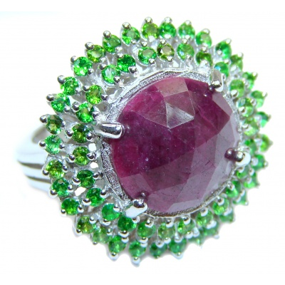 Genuine Ruby Emerald .925 Sterling Silver handmade Cocktail Ring s. 7