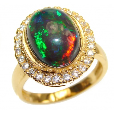 Australian Doublet Opal 24K Gold over .925 Sterling Silver handcrafted ring size 8