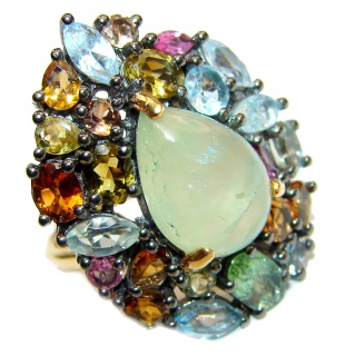 Natural Prehnite 18K Gold over .925 Sterling Silver handmade ring s. 6 1/4