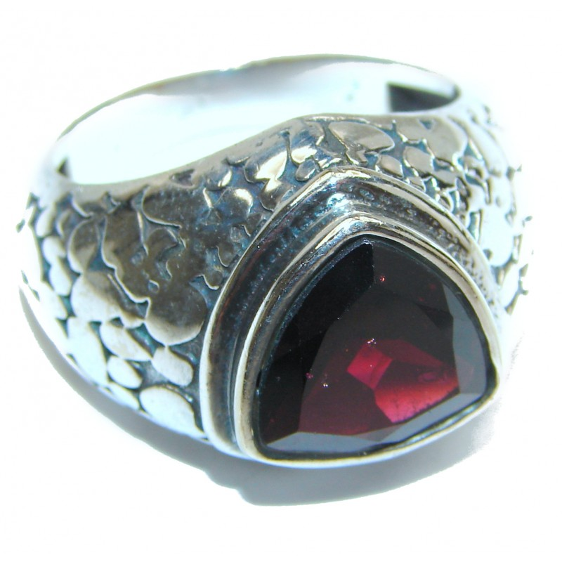 Large Garnet .925 Sterling Silver handcrafted Statement Ring size 11 3/4