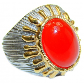 Genuine Carnelian 18K Gold over .925 Sterling Silver handmade Ring Size 8