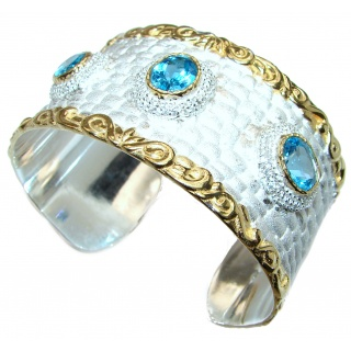 Enchanted Beauty Swiss Blue Topaz 24K Gold over .925 Sterling Silver antique patina Bracelet / Cuff