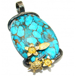 Sea Sediment with copper vains Jasper .925 Sterling Silver handmade Pendant