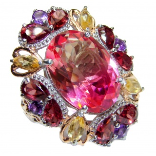 HUGE Oval cut Pink Tourmaline color Topaz 18K Gold over .925 Sterling Silver handcrafted Ring s. 7 1/4