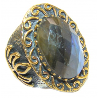 Fire Labradorite 18K Gold over .925 Sterling Silver Bali handmade ring size 8