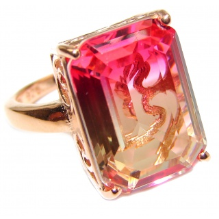 Genuine 25ct Pink Tourmaline color Topaz Rose Gold over .925 Sterling Silver handcrafted ring; s. 8