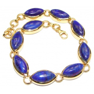 Chic Blue Waves Lapis Lazuli 18K Gold over .925 Sterling Silver handcrafted Bracelet